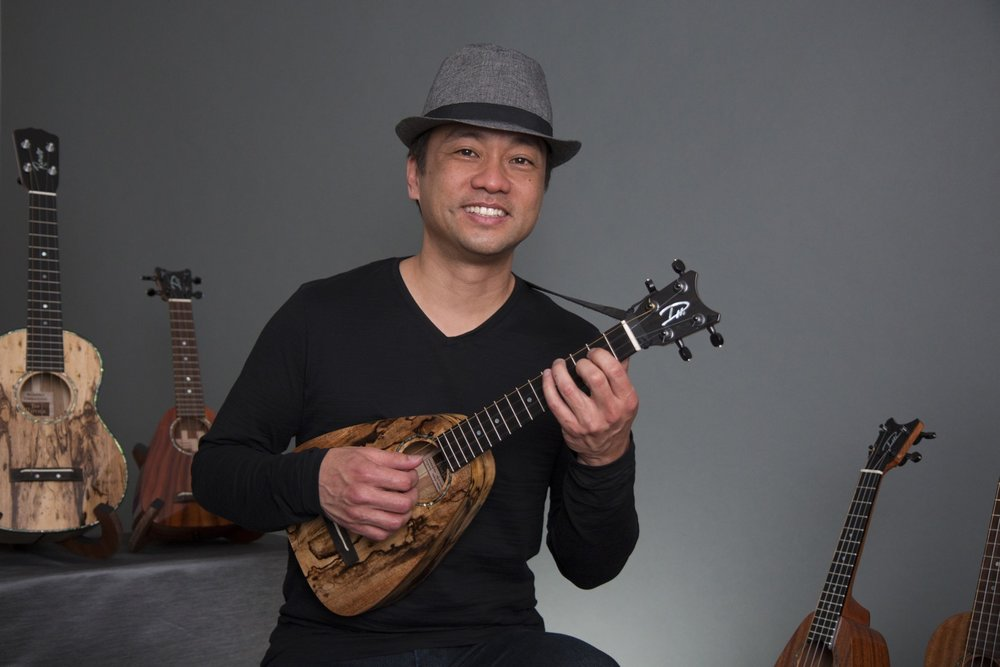 Daniel Ho - with his Tiny Tenor and other Romero Creations models