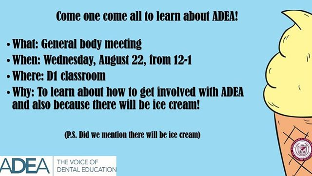 Come learn all about ADEA and how to get involved! Ice Cream will be provided! 🤤🍦🍨 #icecream #learnandlead #rosemanadea