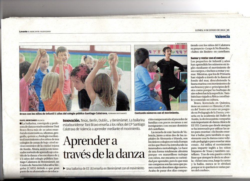 Article in Valencia, Spain publication about Leaps & No Bounds Program