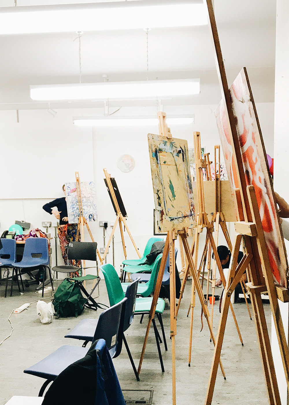 Easels and seats filled the perimeter of the studio