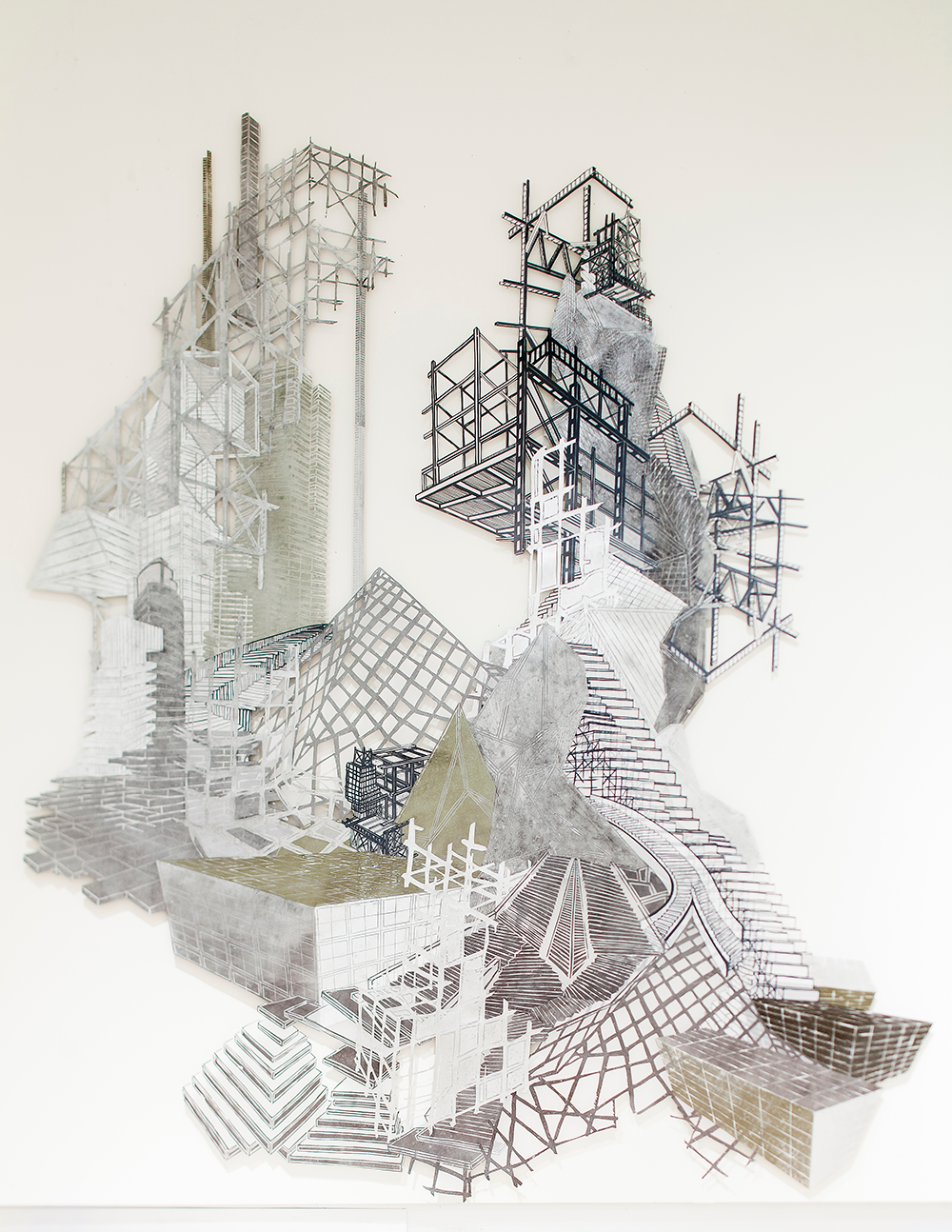 "Babel Revisited: History Repeats Itself (Tower 4)  2014; Woodcut and silkscreen on mylar, collage; 132"" x 112"""