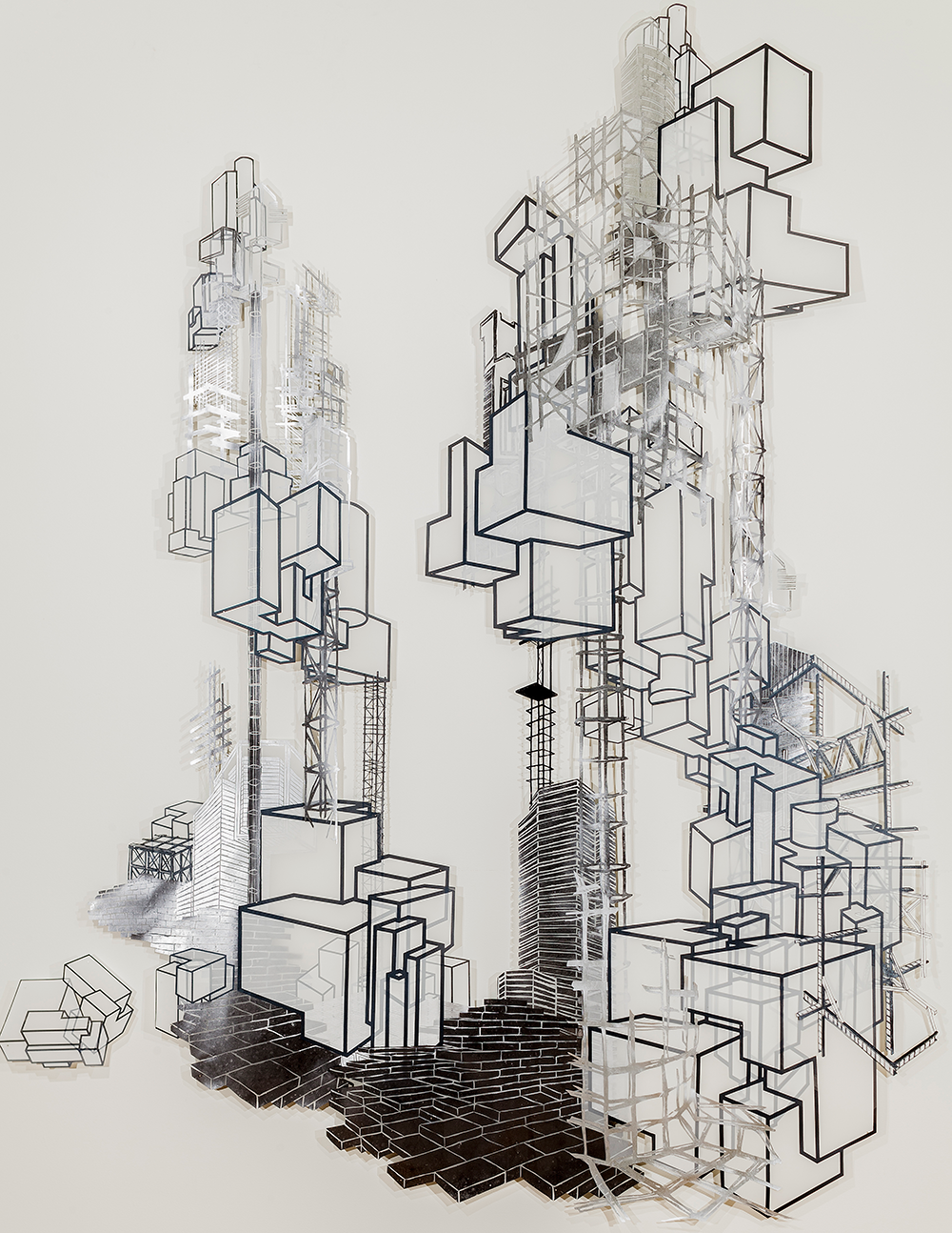 "Babel Revisited: History Repeats Itself (Tower 3)  2014; Woodcut and silkscreen on mylar, collage; 140"" x 108"""