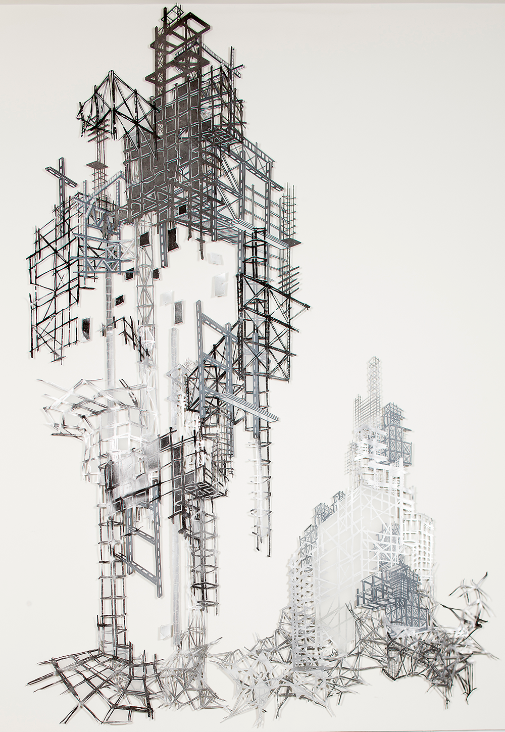 "Babel Revisited: History Repeats Itself (Tower 2)  2014; Woodcut and silkscreen on mylar, collage; 166 1/2"" x 108"""