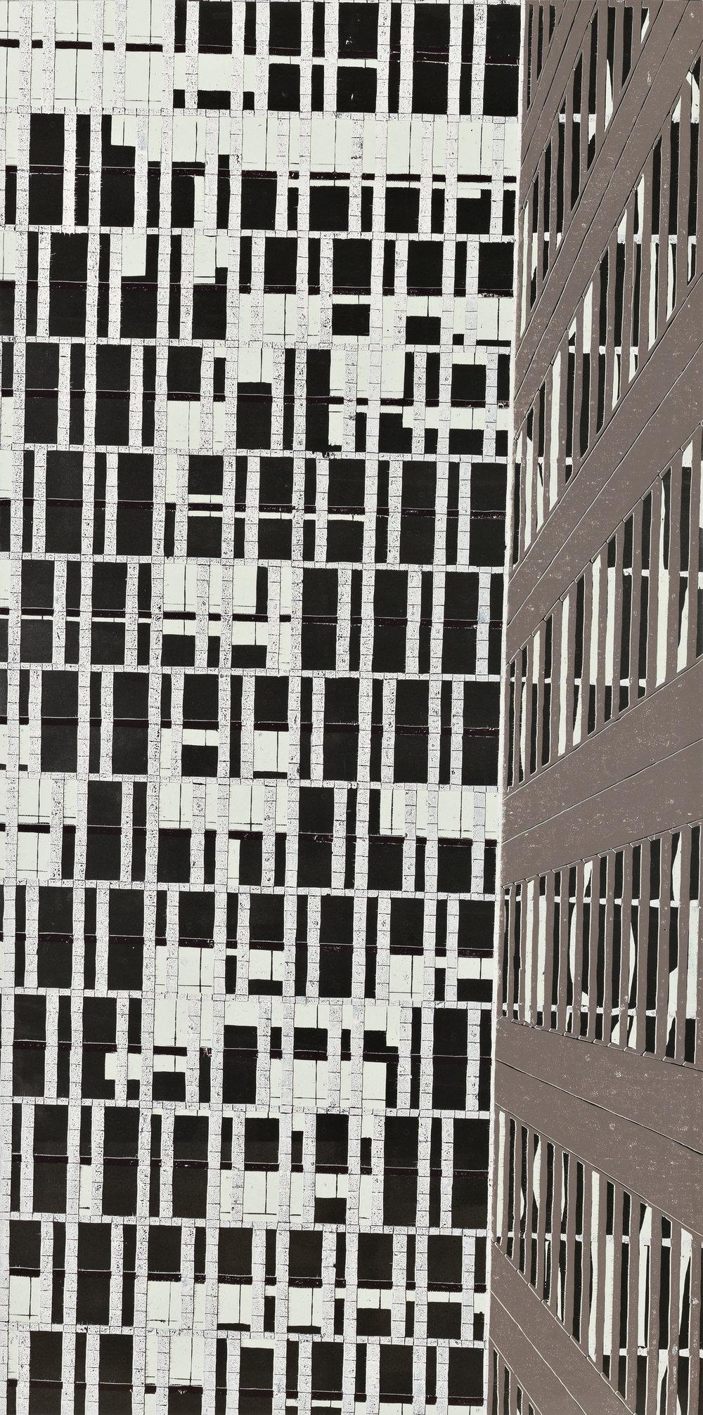 "Big Windows (2)  2016; Woodcut on mylar; 95 3/4"" x 47 3/4""; Self published; Edition of 2"