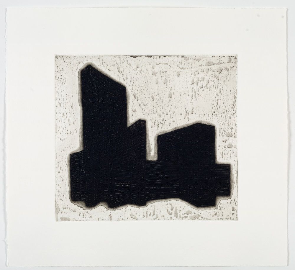 "Ideal Structures for a Dubious Future (Slab Complex)  2012; Explosive intaglio on paper; 13 7/8"" x 15""; Self published; Edition of 12"