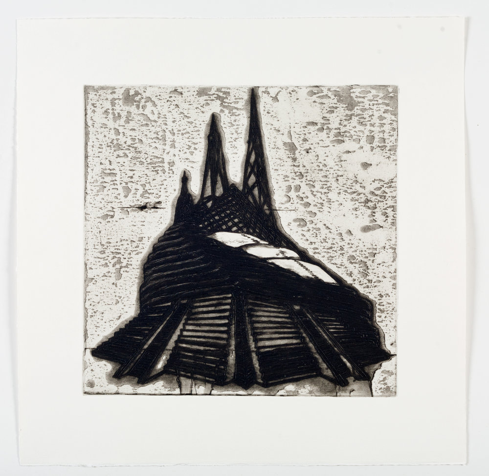 "Ideal Structures for a Dubious Future (Pyramid Temple)  2012; Explosive intaglio on paper; 16 7/8"" x 16 3/4""; Self published; Edition of 12"