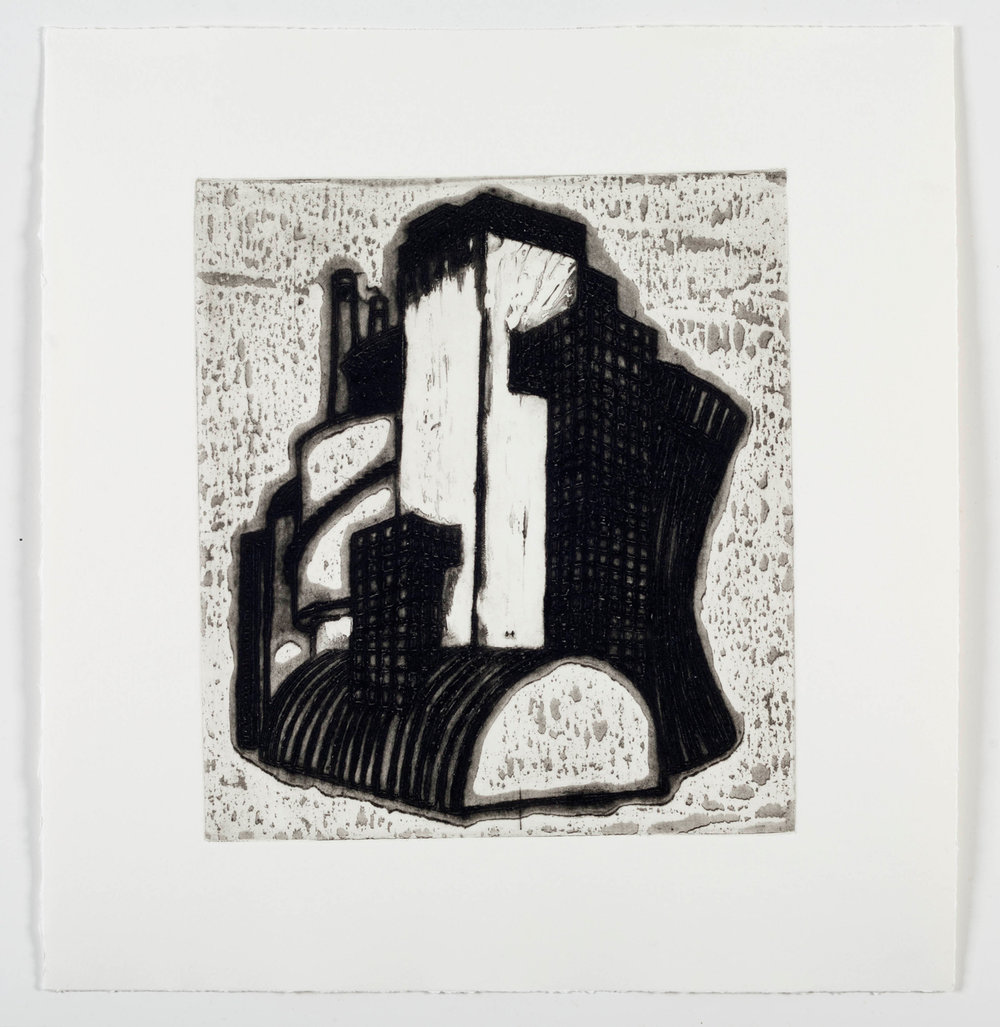 "Ideal Structures for a Dubious Future (Industrial Cluster)  2012; Explosive intaglio on paper; 16"" x 15""; Self published; Edition of 12"