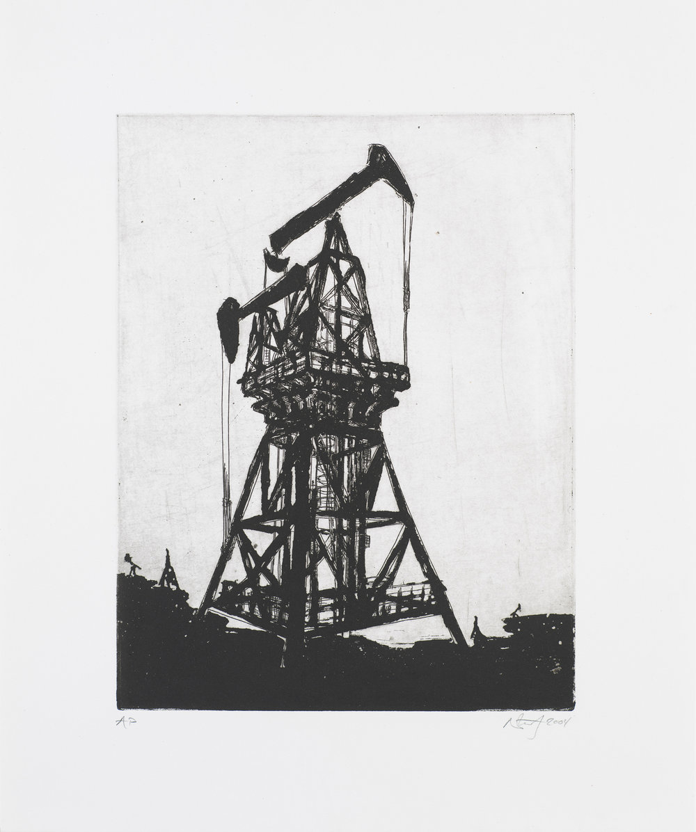 "Monument I (Oil-Rig)  2004; Intaglio on paper; 14.5"" x 12""; Self published; Edition of 12"