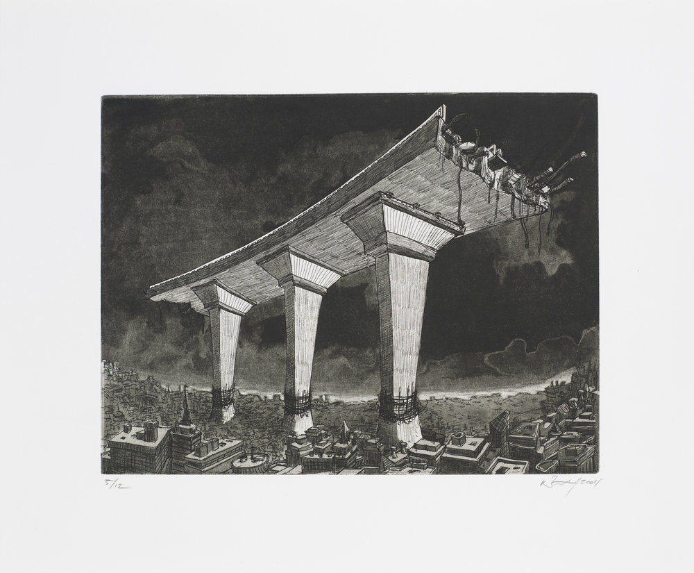 "Monument II (Road)  2004; Intaglio on paper; 12"" x 14.5""; Self published; Edition of 12"