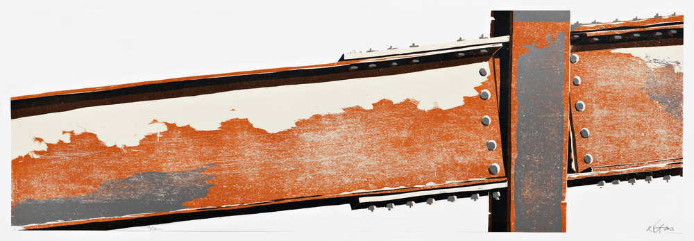 """The Sum of All the Parts (7)  2013; Reduction woodcut on paper and mylar; 11 3/4"""" x 35 7/8""""; Published by Pace Editions; Variable edition of 12"""