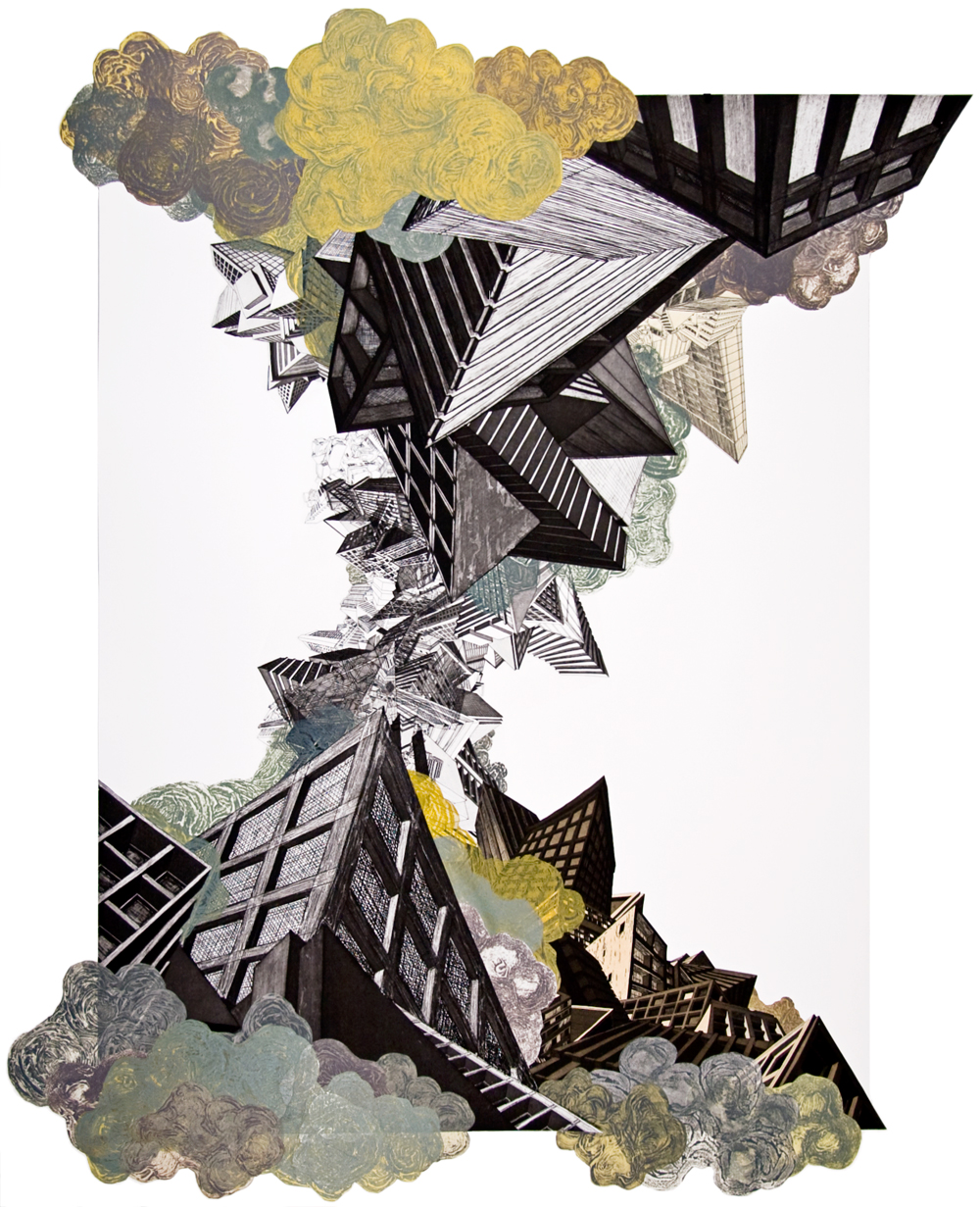 "Air  2008; Etching, carborundum collograph and collage on paper; 47.5"" x 35.75""; Published by Pace Editions; Edition of 20"
