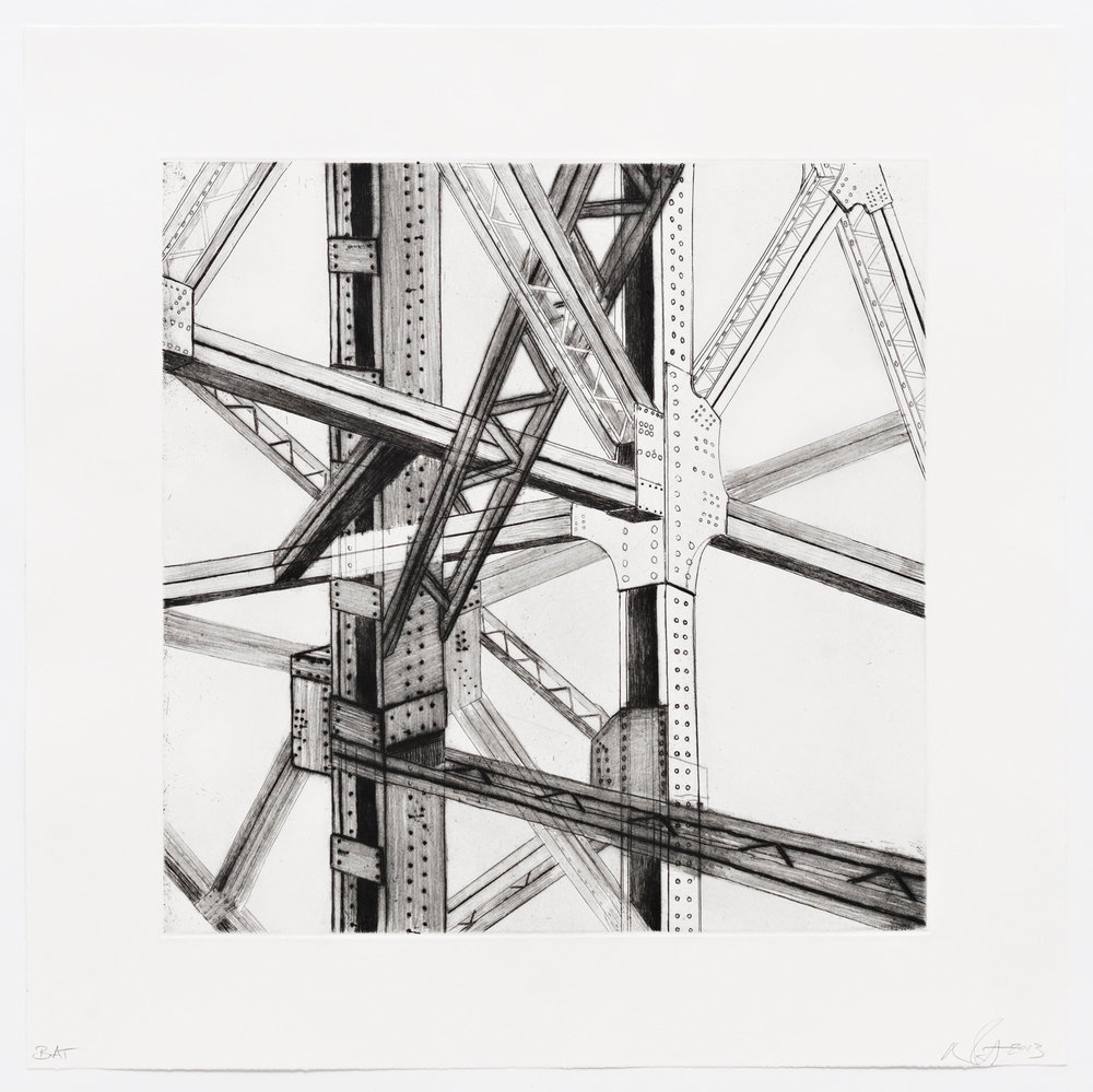 "Awkward Encounter  2013; Intaglio, hard ground and dry point on paper; 16"" x 16""; Published by Pace Editions; Edition of 10"