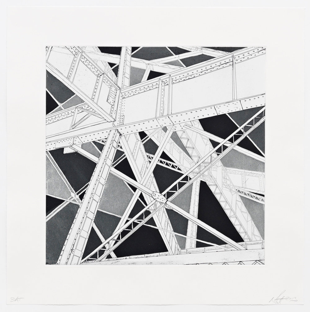"The Sky is (not) Falling  2013; Intaglio, hard ground and aquatint on paper; 16"" x 16""; Published by Pace Editions; Edition of 10"