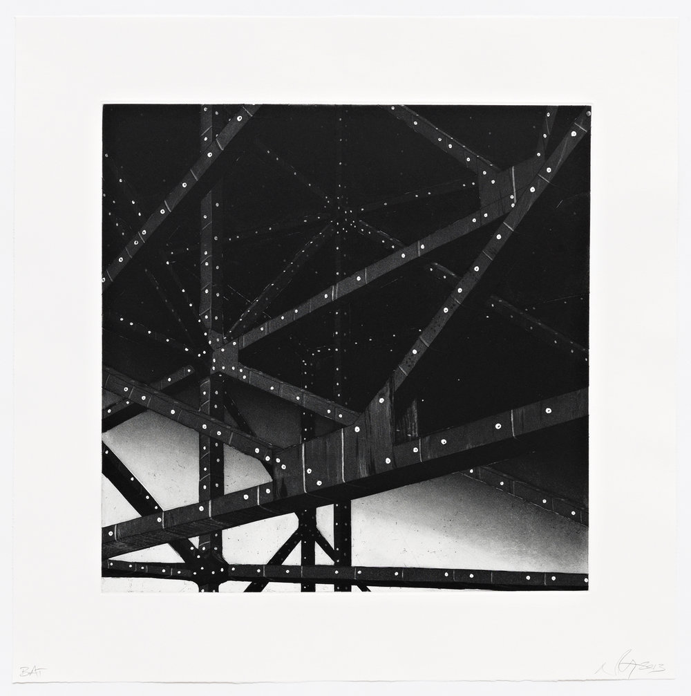 "Firmament  2013; Intaglio, hard ground, aquatint and dry point on paper; 16"" x 16""; Published by Pace Editions; Edition of 10"