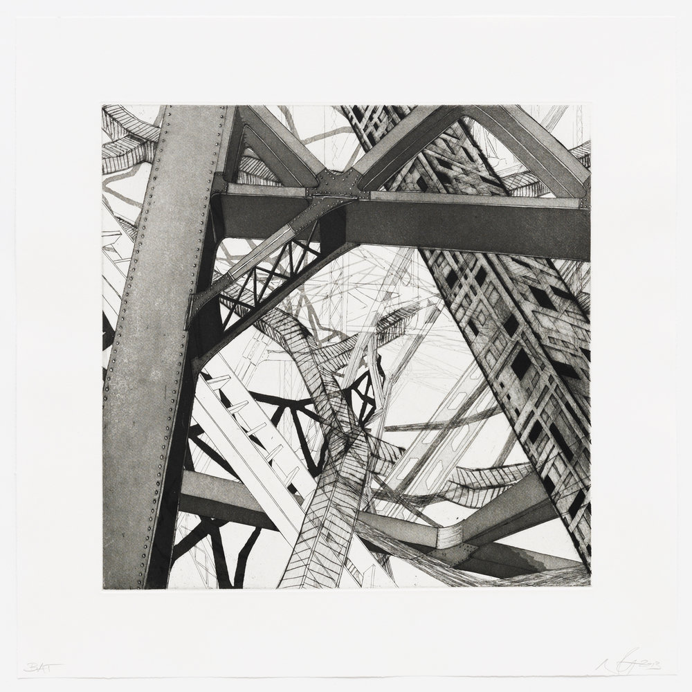 "Passage  2013; Intaglio, hard ground, aquatint, drypoint and openbite on paper; 16"" x 16""; Published by Pace Editions; Edition of 10"