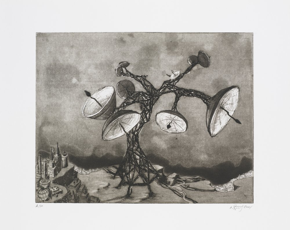 "Monument IV (Satellite Dish Tree)  2004; Intaglio on paper; 14.5"" x 12""; Self published; Edition of 12"