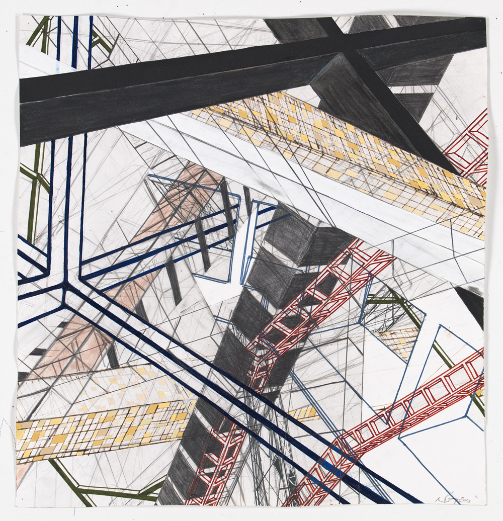 """Bits of Aftermath 1    2011; Graphite, ink and gouache on paper; 22"""" x 22"""""""