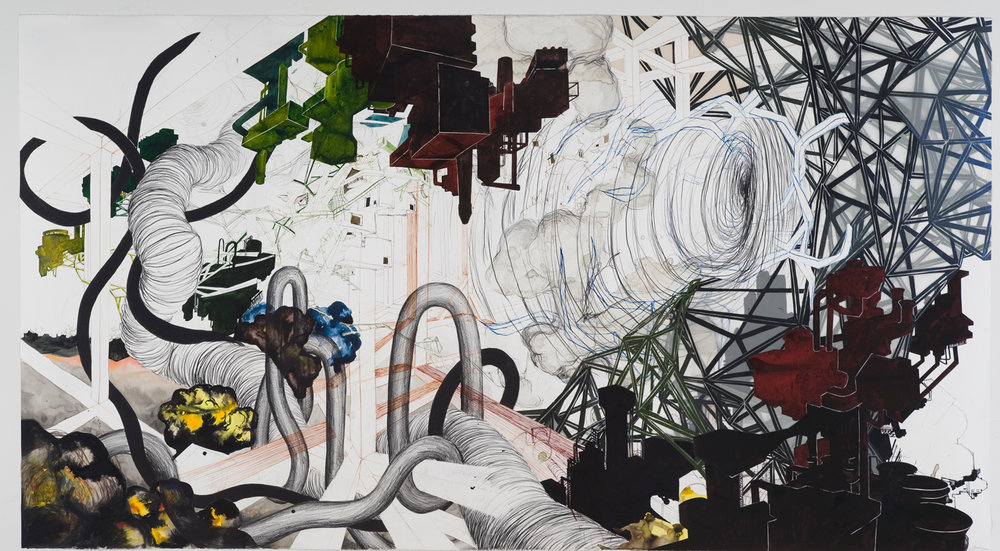 "Saturation Point  2006; Ink, watercolor, graphite, oil stick on paper, woodcut on mylar, and collage; 50"" x 90"""