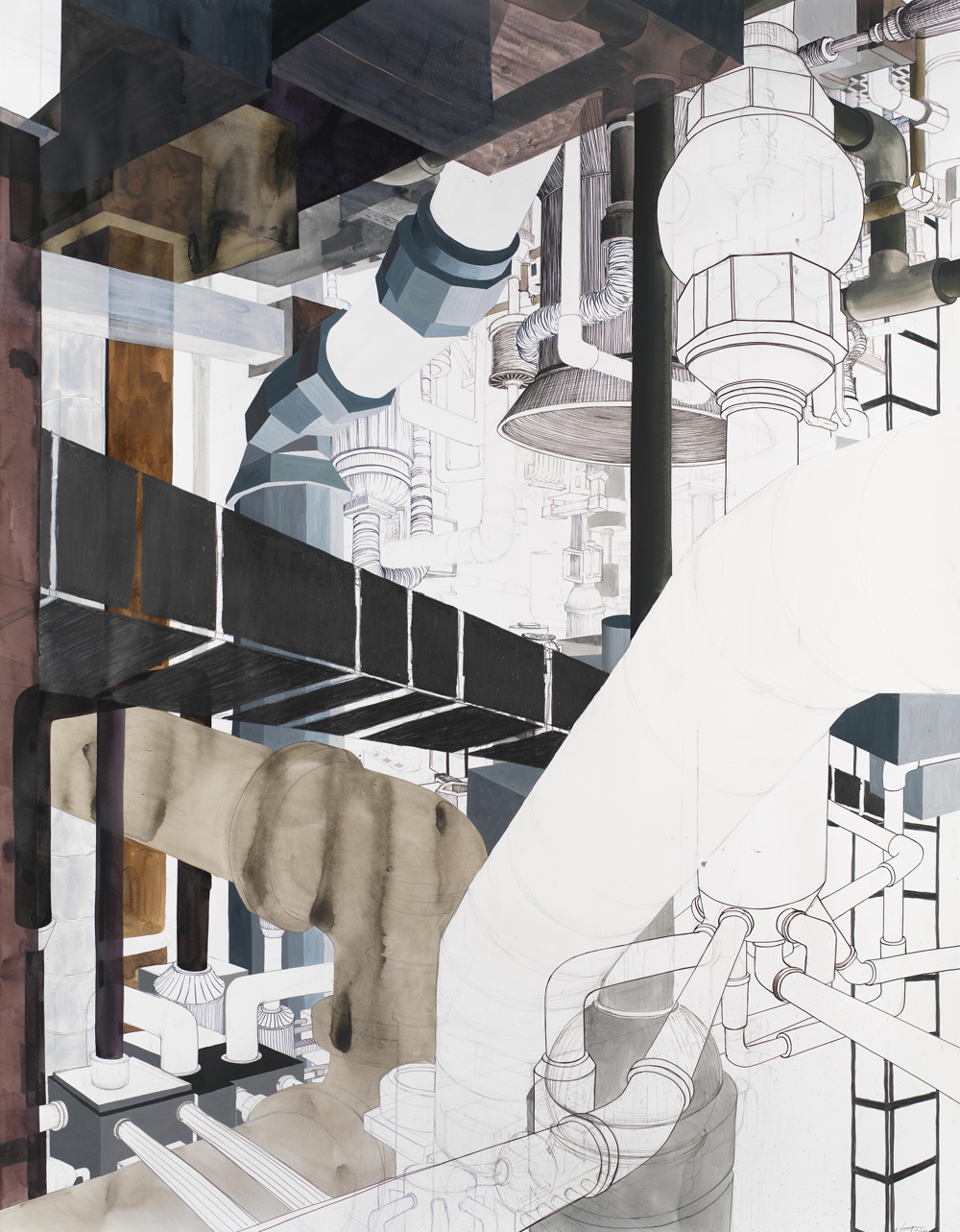 "Phantom Factory  2009; Ink, watercolor, gouache, graphite and gesso on paper; 71"" x 55 1/2"""