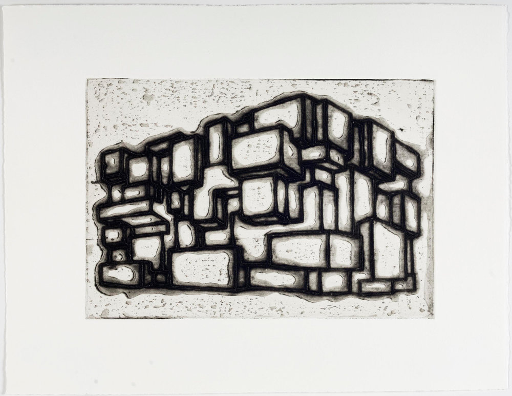 "Ideal Structures for a Dubious Future (Block Building)  2012; Explosive intaglio on paper; 13"" x 17""; Self published; Edition of 12"