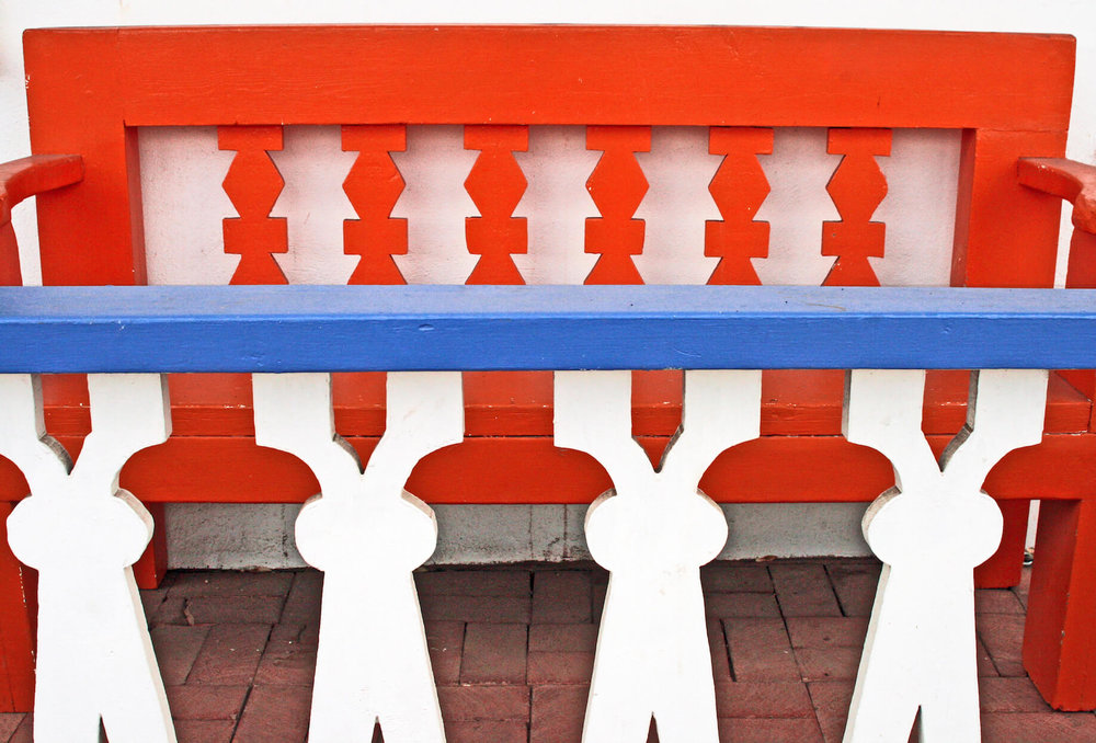 Orange Bench with Blue Rail