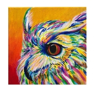 """Mr. Celebration, Affirming Owl series, Acrylic, 12""""x12"""" Framable Matted Canvas Print Available $50"""