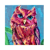"""Madam Peace, Affirming Owl series, Acrylic, 12""""x12"""" Framable Matted Canvas Print Available $50"""