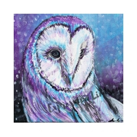 """Lady Optimism, Affirming Owl series, Acrylic, 12""""x12"""" Framable Matted Canvas Print Available $50"""