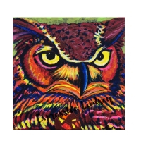 """Mr. Trusting, Affirming Owl series, Acrylic, 12""""x12"""" Framable Matted Canvas Print Available $50"""
