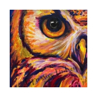 """Lady Success, Affirming Owl series, Acrylic, 12""""x12"""" Framable Matted Canvas Print Available $50"""