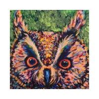 """Ms. Health, Affirming Owl series, Acrylic, 12""""x12"""" Framable Matted Canvas Print Available $50"""