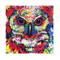 """Madam Creativity, Affirming Owl series, Acrylic, 12""""x12"""" Framable Matted Canvas Print Available $50"""