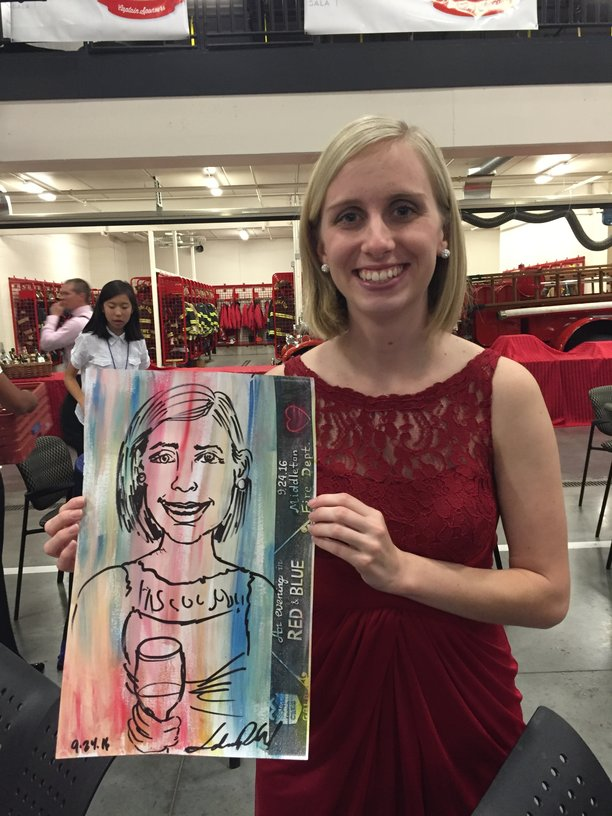 """An Expressive Portrait drawn during cocktail and silent auction time at Reach-A-Child's gala, """"Evening of Red & Blue."""""""
