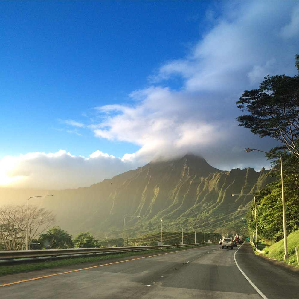 Each of us faces the symbolic mountain. (FYI: this is literally the Ko'olaus on the the island of O'ahu).