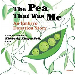 """- The Pea That Was Me Volume 3: An Embryo Donation Story by Kimberly Kluger-BellIn this light-hearted book with cute pictures and kid humor, very nice people donated an extra pea (embryo) that a doctor put into mommy's tummy to create """"me."""" I find it an easy read and more importantly, entertaining and simplistic enough for a young child or toddler. Customized to different IVF stories, volume 3 is for children conceived through embryo donation. It's not perfectly customized to accommodate the extra nuance of solo parenting, but still an easy fun read. It has room to fill in your own details as well, and appropriate for both anonymous and known embryo donation."""