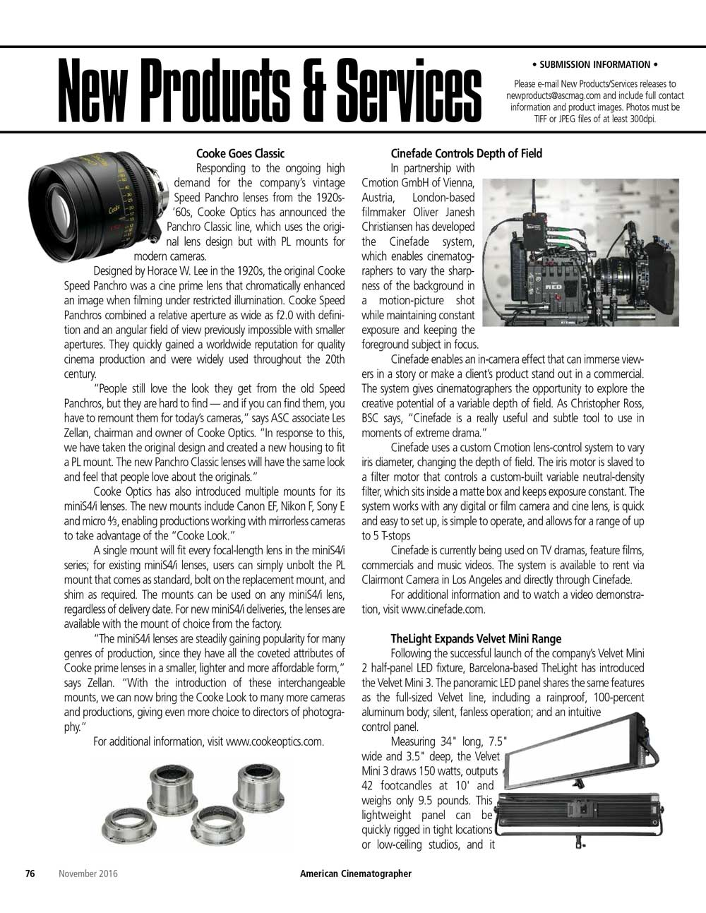 American Cinematographer Magazine Cinefade press article