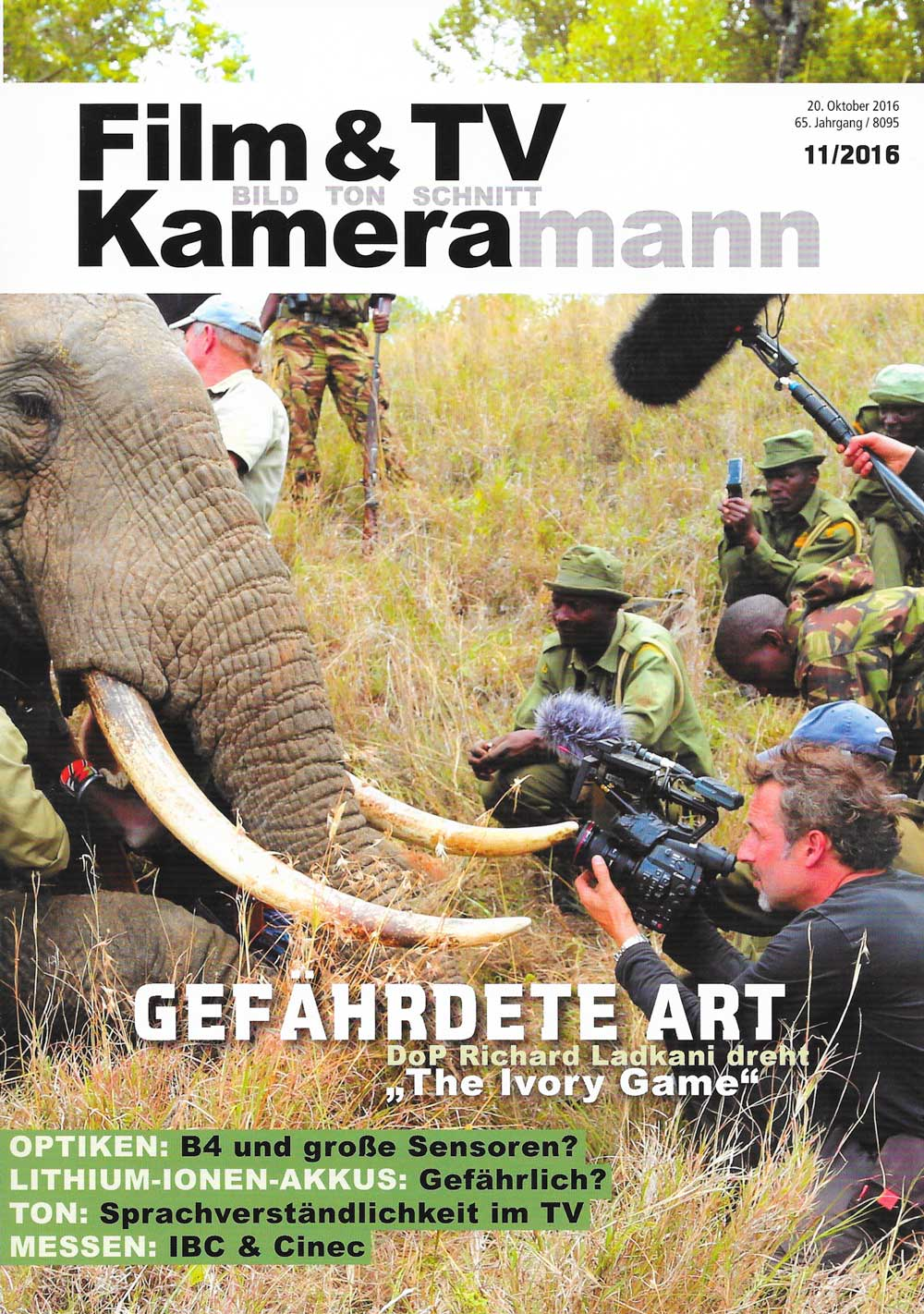 Film und TV Kameramann Magazine Cinefade press cover