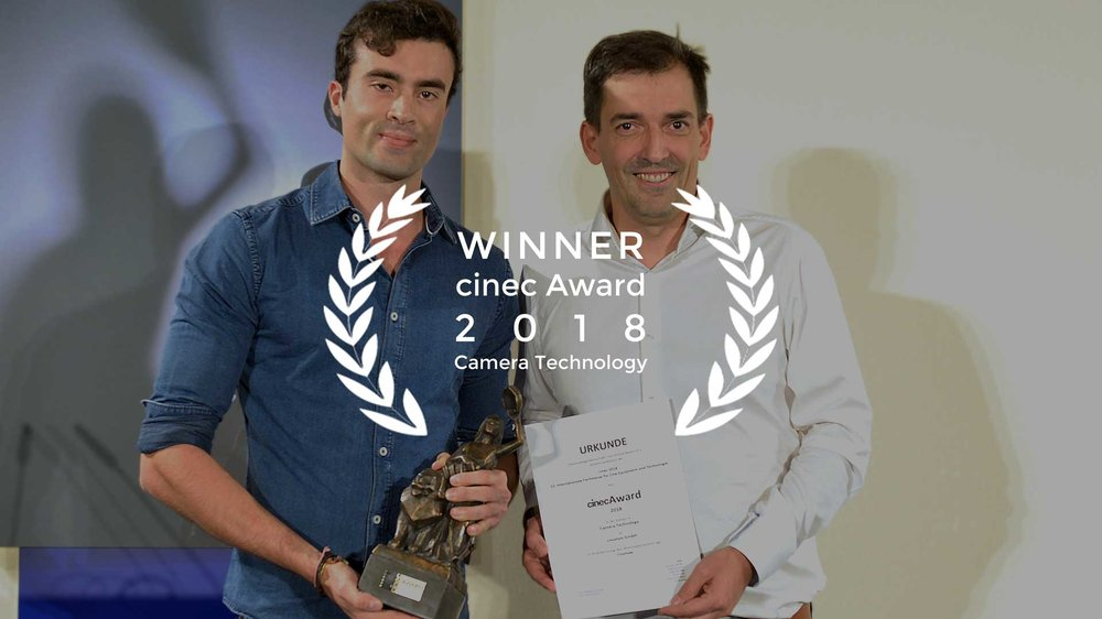 Cinefade Founder Oliver Janesh Christiansen with cmotion Owner Christian Tschida accepting cinec Award 2018
