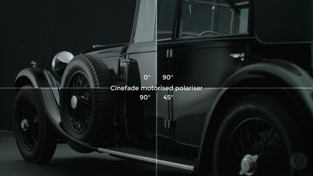 Cinefade Motorised Polariser automotive reflections