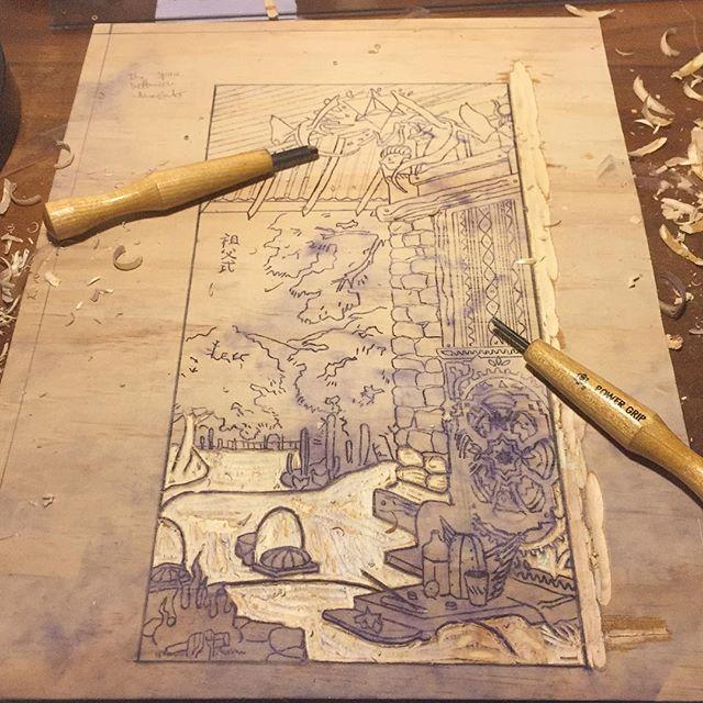 Progress on moku hanga . Japanese wood print. Grandfather ceremony  #mokuhanga