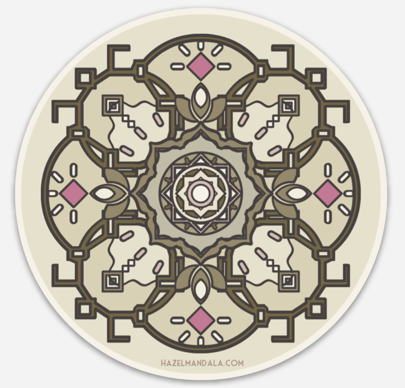 "hazel mandala sticker - Sticker detail of ""Through the water she spoke""Circular 10x10cm Outdoor StickerStarting $3 each"