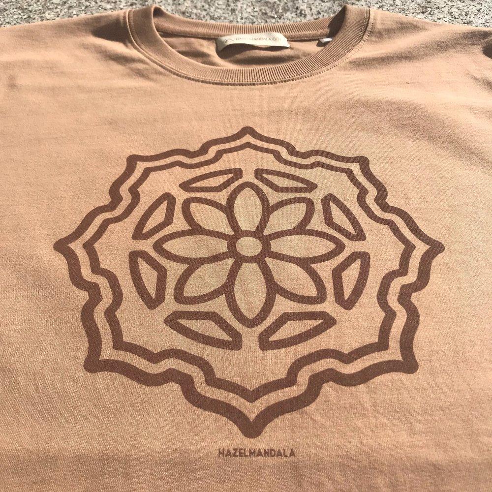 Hazel mandala Albzia shirt - The Huachuma Flower in bloom, Organic 100% Cotton. Stanley/Stella Sparker Thick Shirt. Created in Ethical & Ecological Ways . Sweatshop Free! Caramel Short Sleeve & Longsleeve Avaliable$45 AUD each + postage