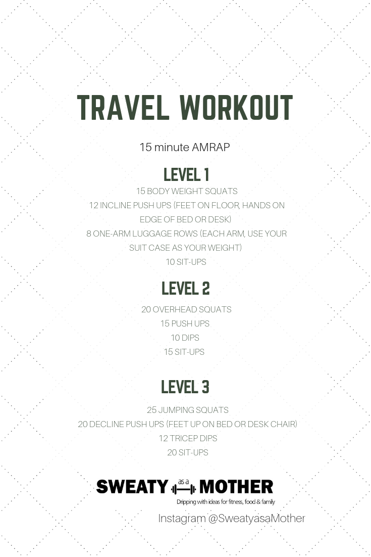 Try this workout while traveling, in a hotel room or at a friends house. You do not need any weights just you and a table or bed. Even get creative with using your suitcase as a weight.