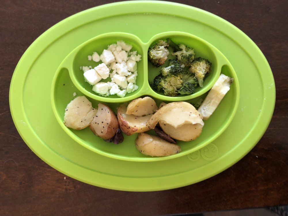 brussel sprouts and broccoli, feta cheese and potatoes