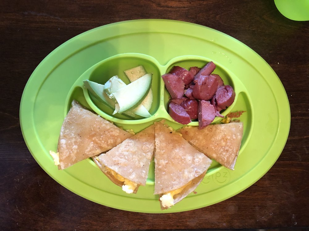 quesadilla, beef hot dog and avocado