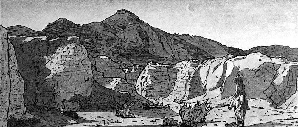 "Mojave Box Canyon (Moonlight) 8x12"" Ink and Charcoal on Paper (Sold)"