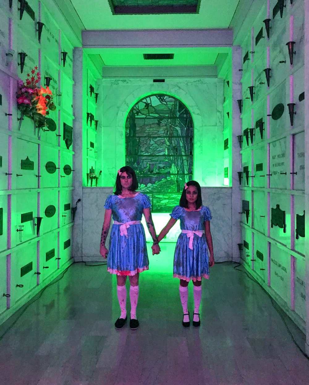 April and I rocking our Grady Twins from The Shining costumes at La Day of the Dead