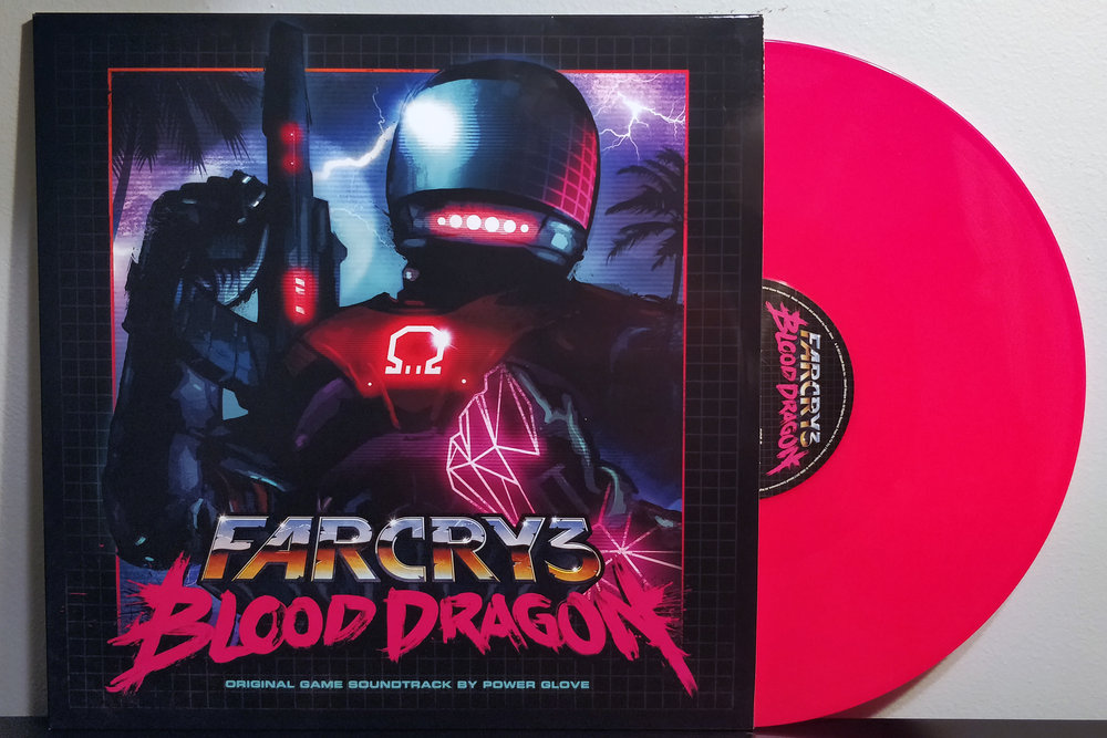 "Far Cry 3: Blood Dragon by Power Glove pressed on ""Neon Pink"" vinyl by Invada Records"