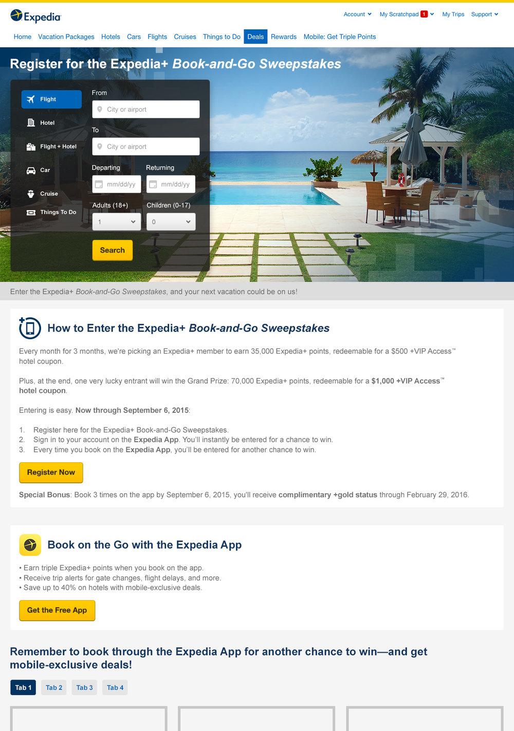 Sweepstake Landing Page