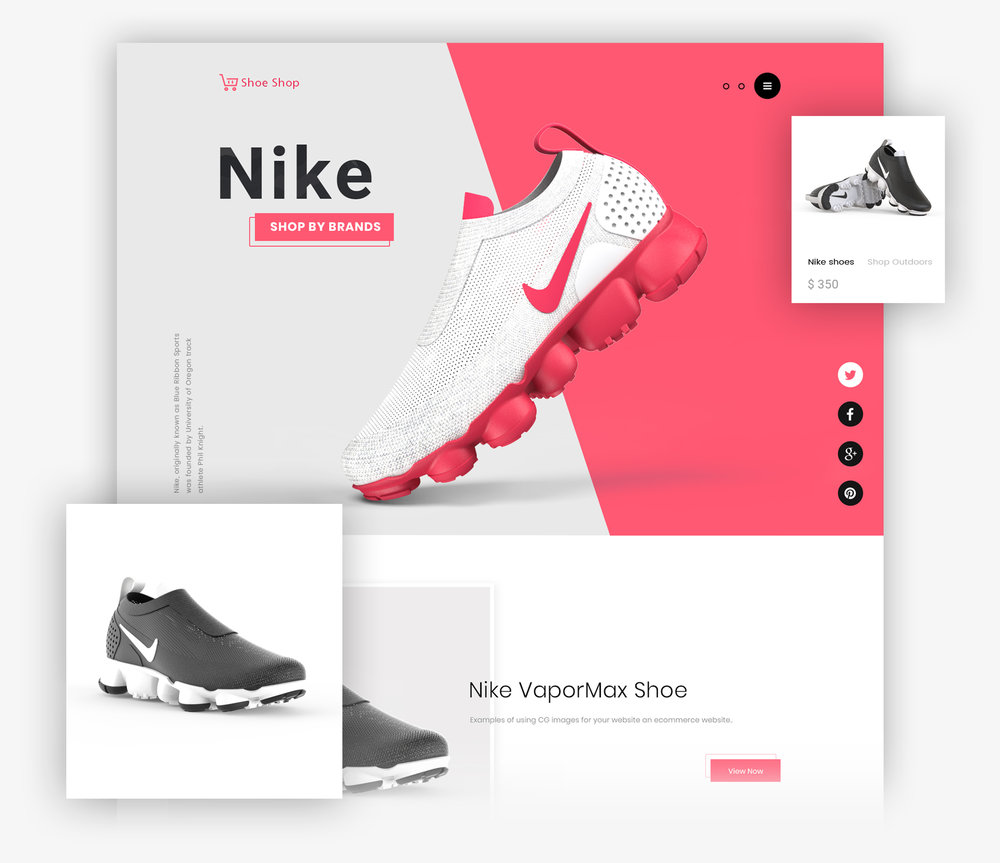 FOR ECOMMERCE - CG is frequently used in e-commerce. We provide all types of visualizations, such as attention-grabbing banners, product images on solid backgrounds, 3D visualizations and product visualizations in a natural environment.
